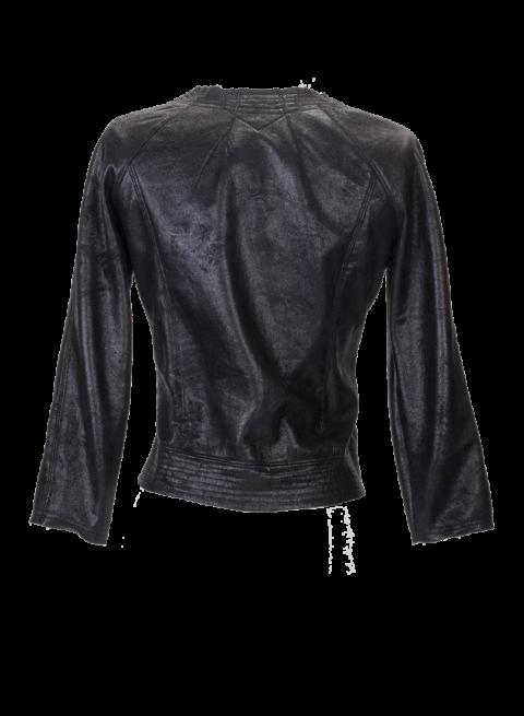Black Faux Leather Cropped mini Jacket