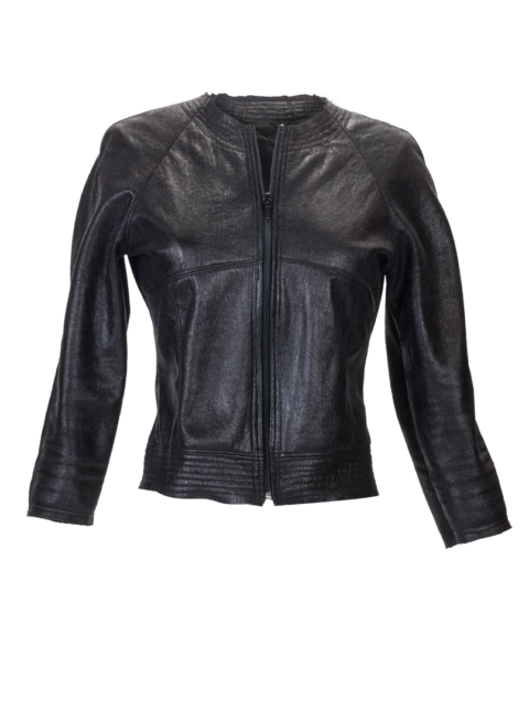 Black Faux Leather Cropped mini Jacket