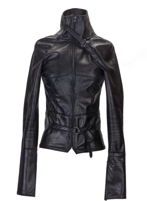 Black High Collar Motorcycle Jacket