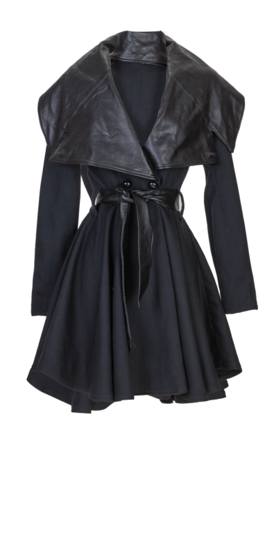 Black Wool Gabardine and Faux Leather Full Circle Coat