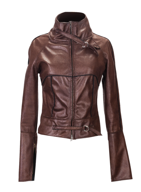 Brown High Collar Motorcycle Jacket