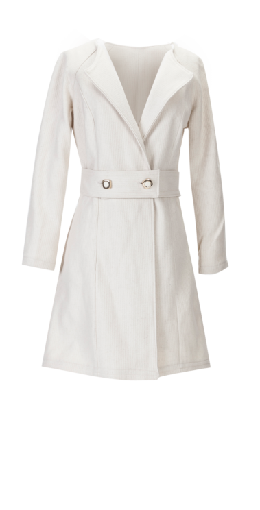 British Steele Winter White Wool Coat