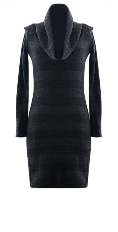 Black Striped Cowl Dress by British Steele