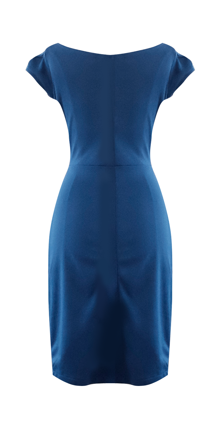Royal Blue Fitted Cowl Dress