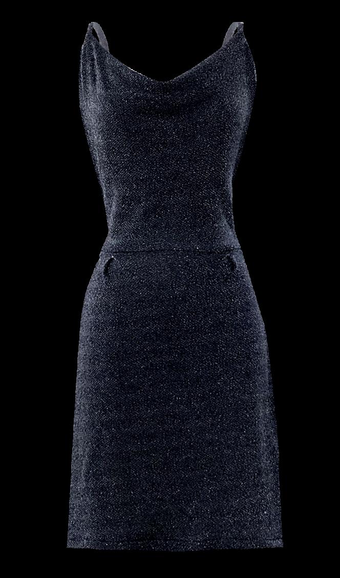 Black Glittery Open Back Dress by British Steele