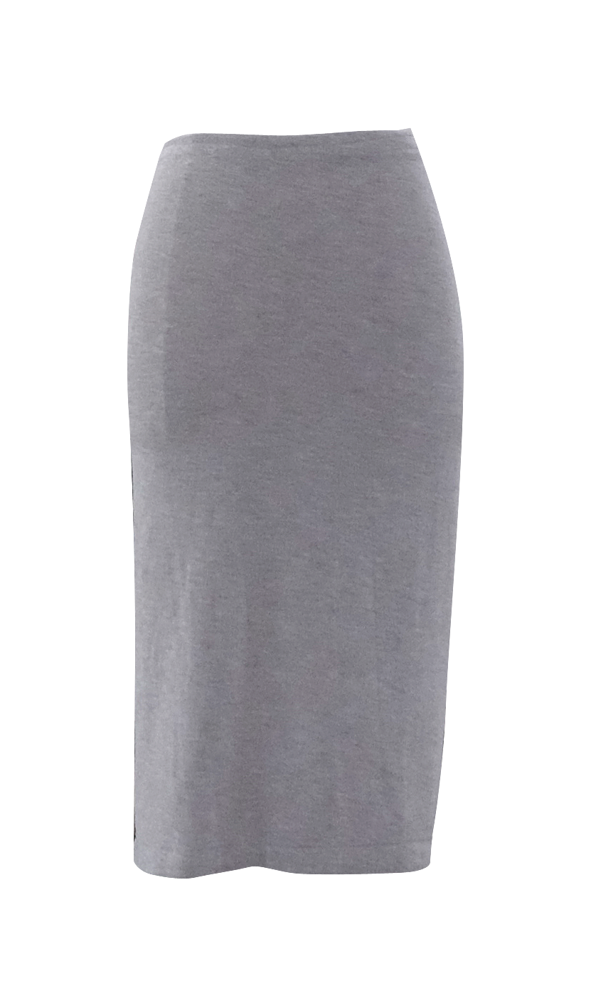 Gray Jersey Pencil Skirt with Side Slit - British Steele