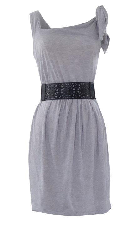 One Shoulder Gray Summer Dress