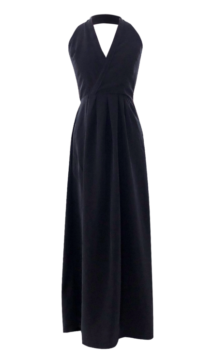 Black V-Neck Halter Dress by British Steele