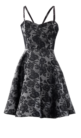 Black and Silver Lace Cocktail Dress