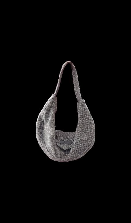 British Steele Mini Gray Herringbone Hobo Purse