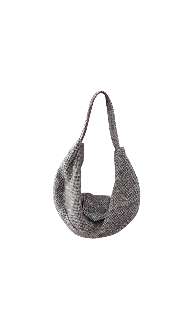 British Steele Mini Gray Herringbone Hobo Purse