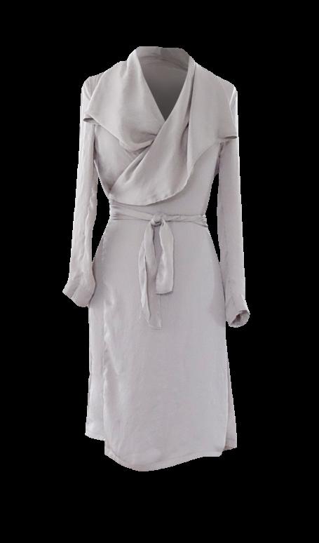 Beige Collar Drape Dress by British Steele