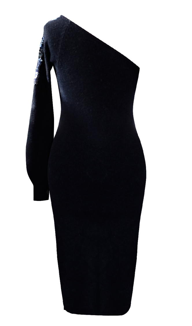 One Shoulder Sweater and Sequin Dress by British Steele