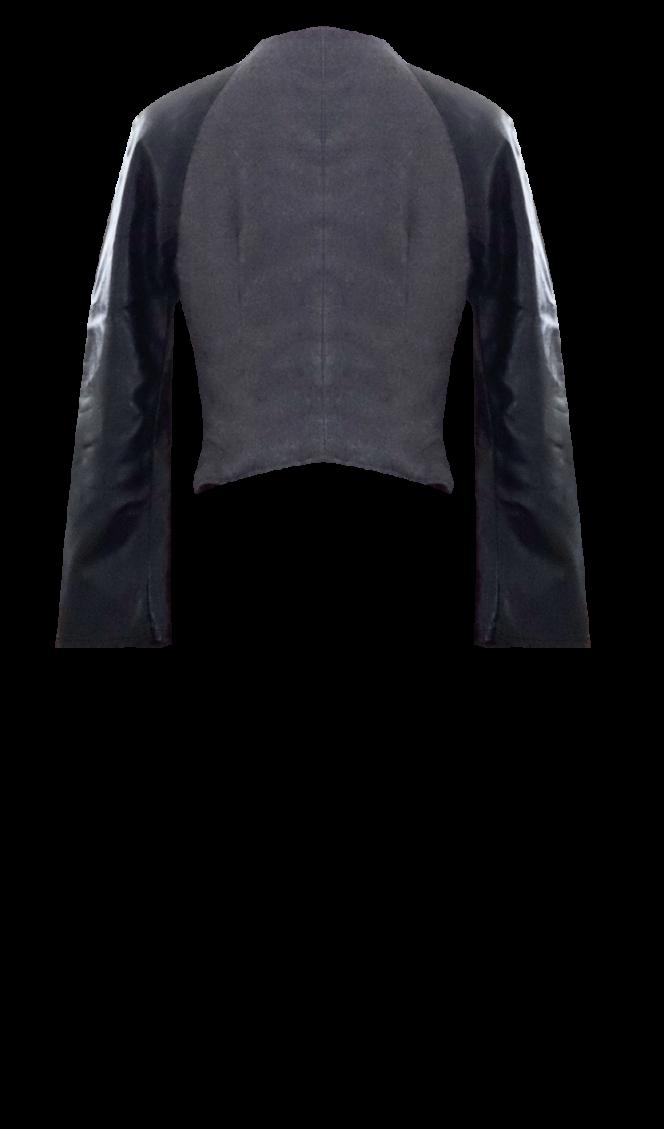 Wool and Leather Varsity Jacket Back