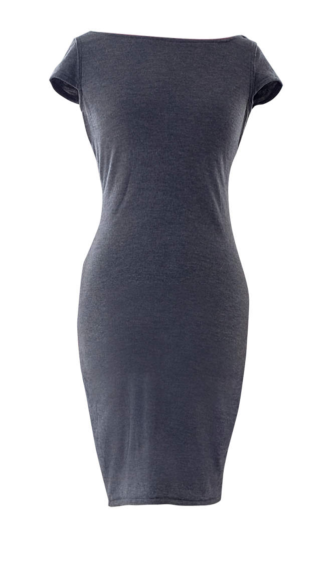 Gray pencil dress with cap sleeves by British Steele