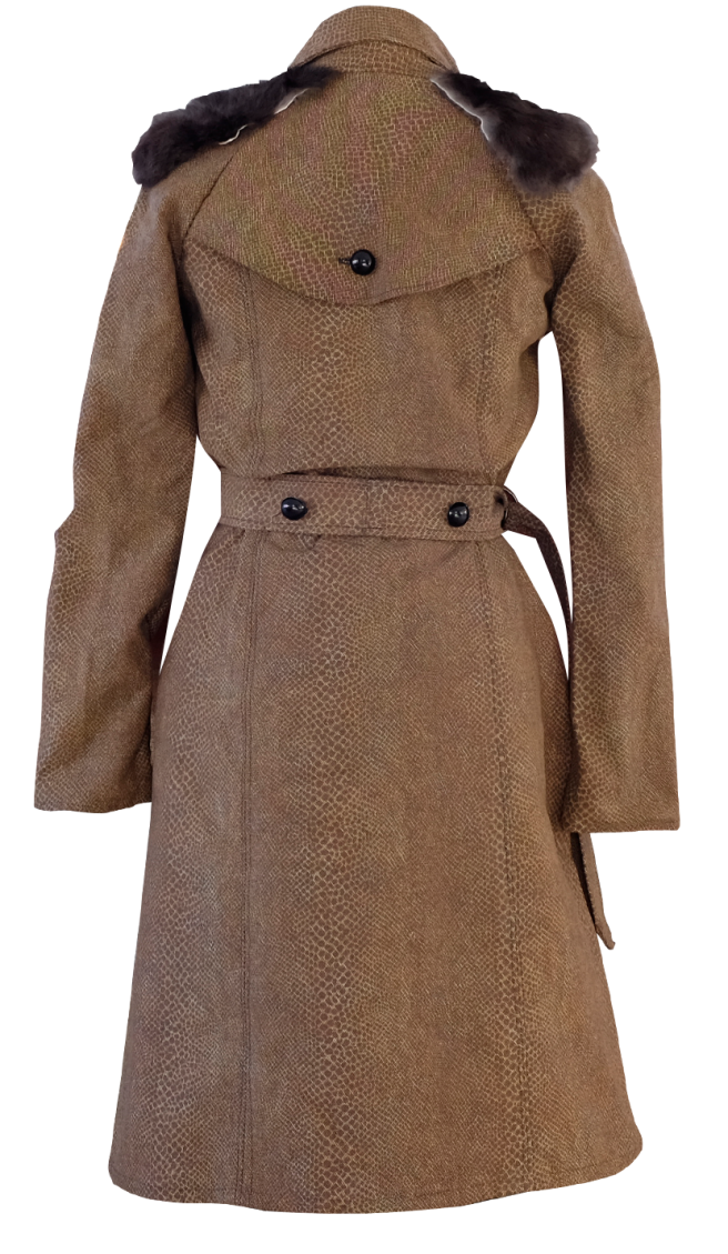 Brown Snake Skin and Fur Long Trenchcoat