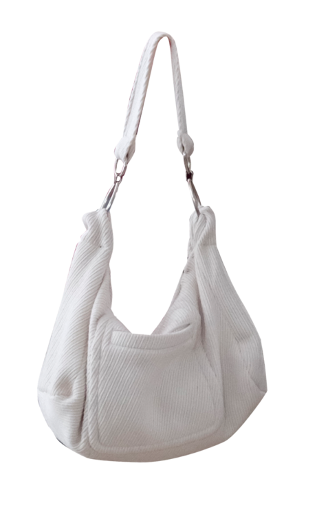 White Wool Hobo Bag by British Steele