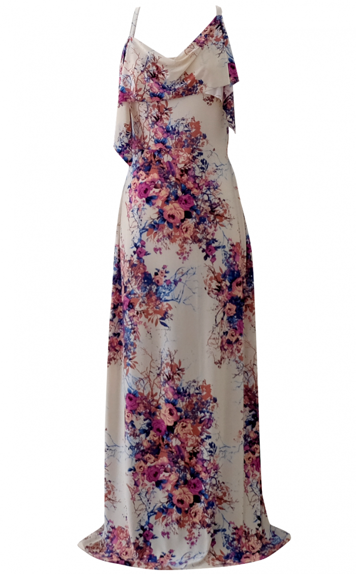 Samantha Asymmetrical Floral Maxi Dress
