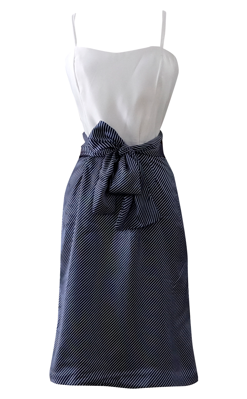 Navy and White Striped Pretty Party Dress - British Steele