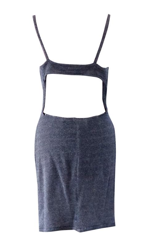 Blue Sparkle Open Back Day Dress