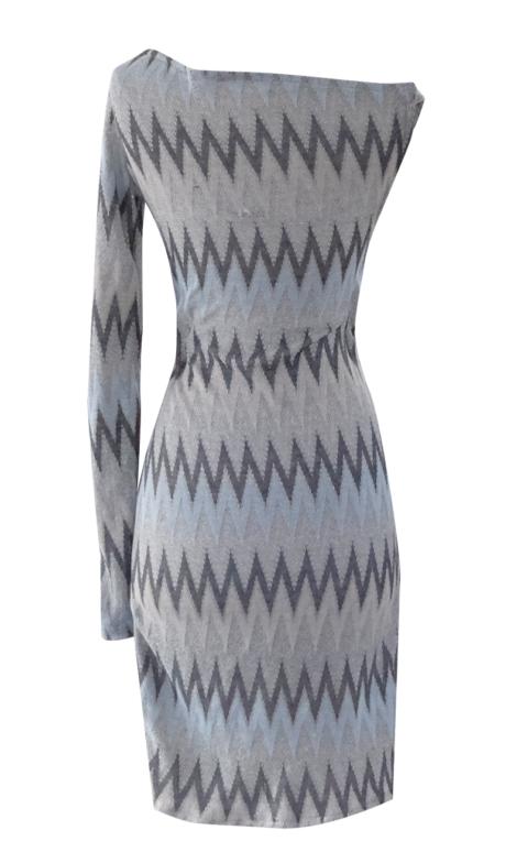 Blue Gray Silver and Peach Chevron off the shoulder pencil dress - British Steele