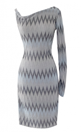 Blue Gray Silver and Peach Chevron off the shoulder pencil dress - British Steele