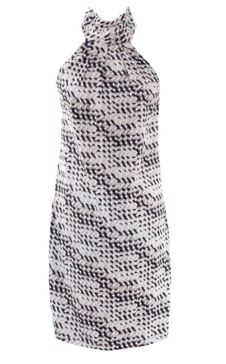 Multi Pattern Black Peach and White Abstract Halter Mini Dress by British Steele