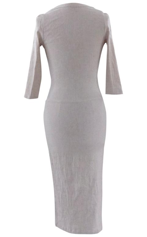 Beige Linen Business Casual Dress