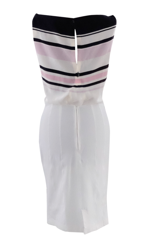 Pink black and cream dip front dress with pencil skirt - British Steele