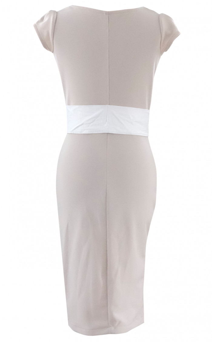 Beige Casual Belted Office Dress by British Steele
