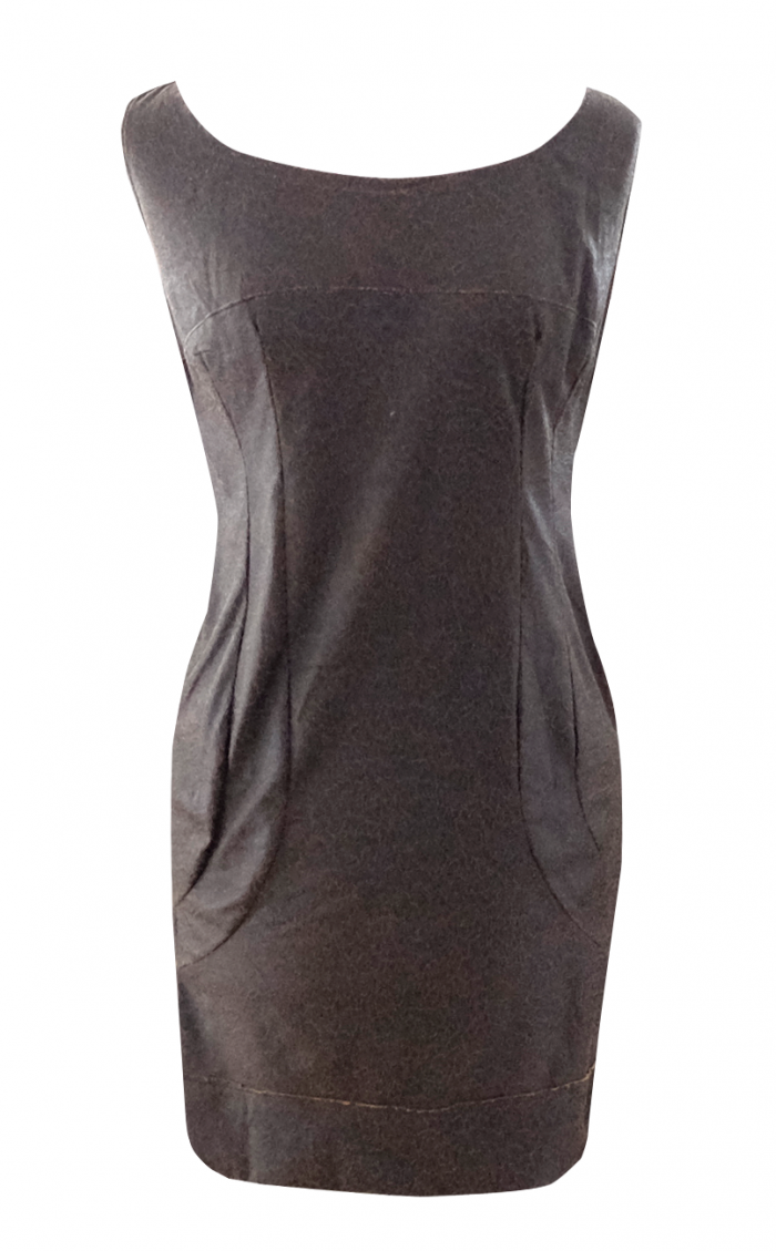 Brown Leather Shift Dress - British Steele