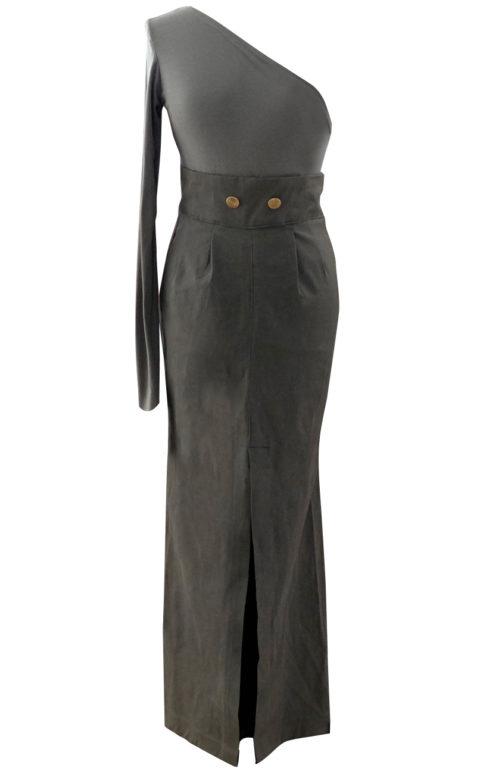 Army Green Maxi Cargo Military Skirt - British Steele