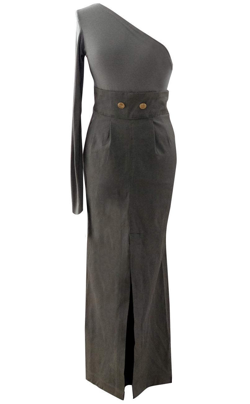 Army Green Long High Waisted Maxi Cargo Skirt - British Steele