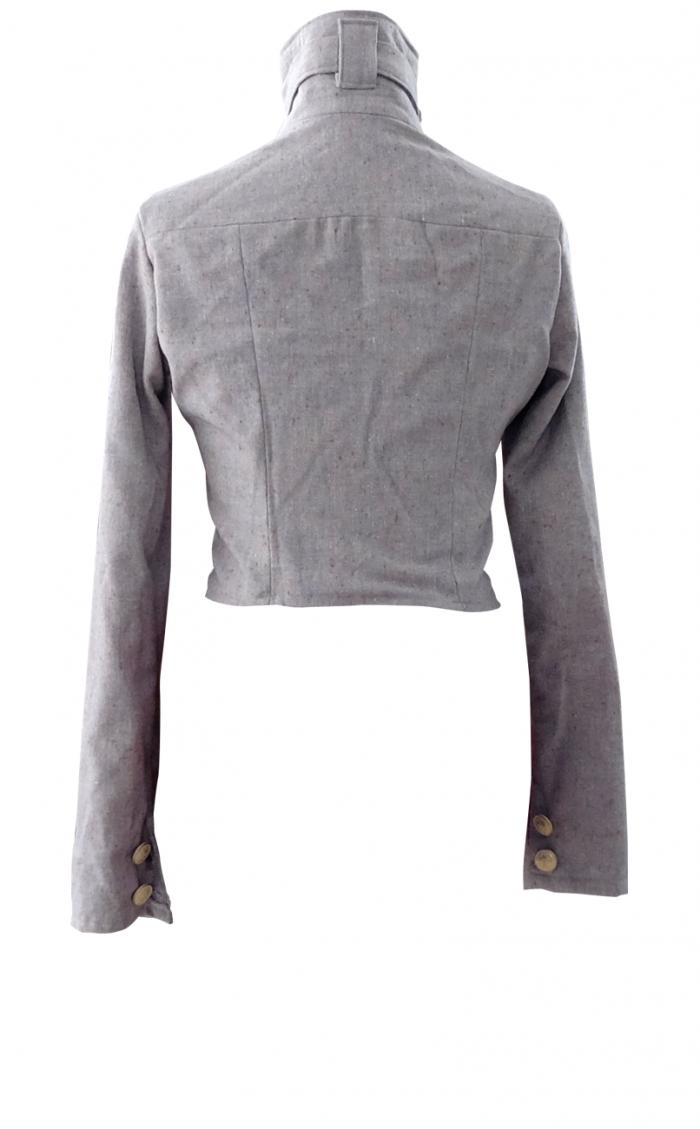 High Collar Wool Motocycle Jacket - British Steele