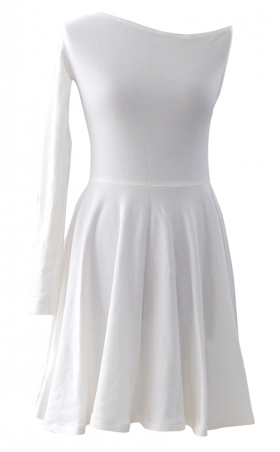 Winter White One Shoulder Skater Dress