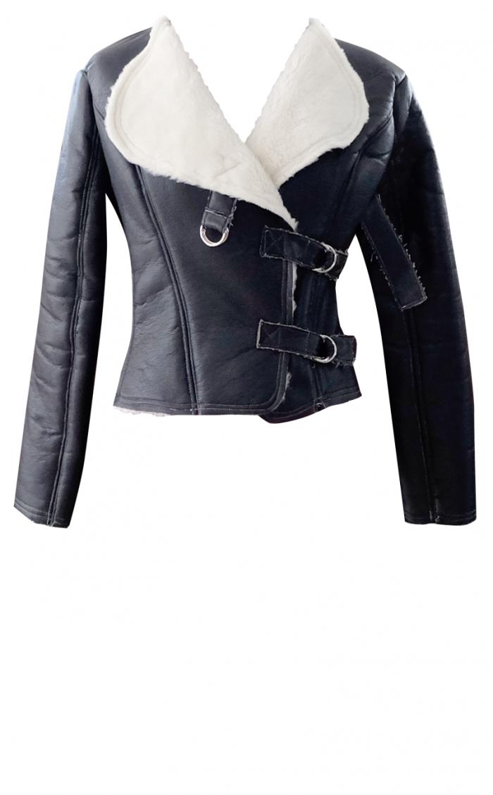 Black Faux Leather & Sherpa Motorcycle Jacket - British Steele