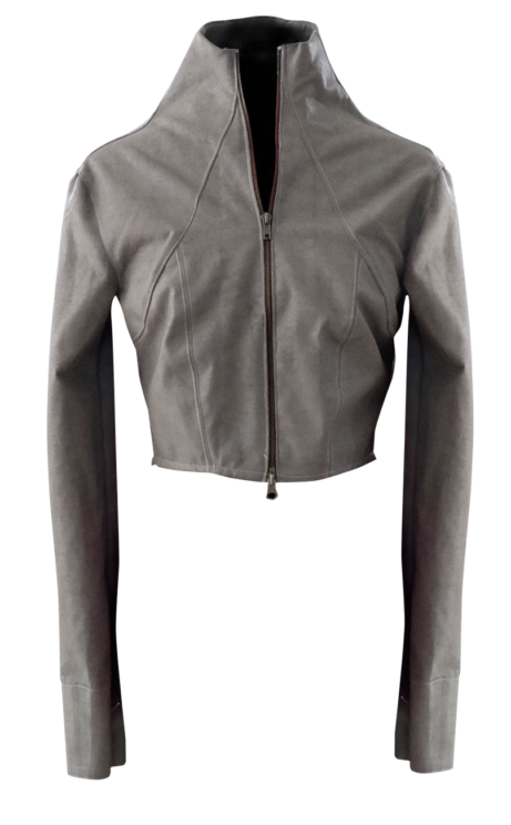 Warm Taupe Cropped Motorcycle Jacket