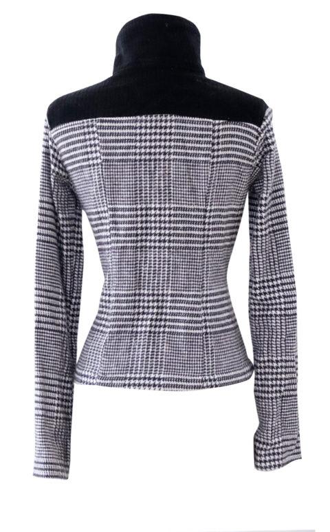 Black and White Herringbone High Collar Jacket