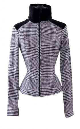Black and White Herringbone High Collar Jacket