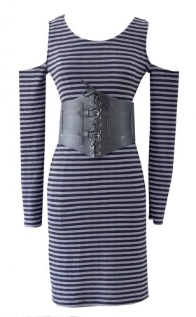 Striped Cold Shoulder Dress by British Steele