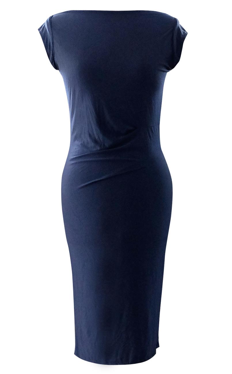 Navy Cap Sleeve Pencil Dress - British Steele
