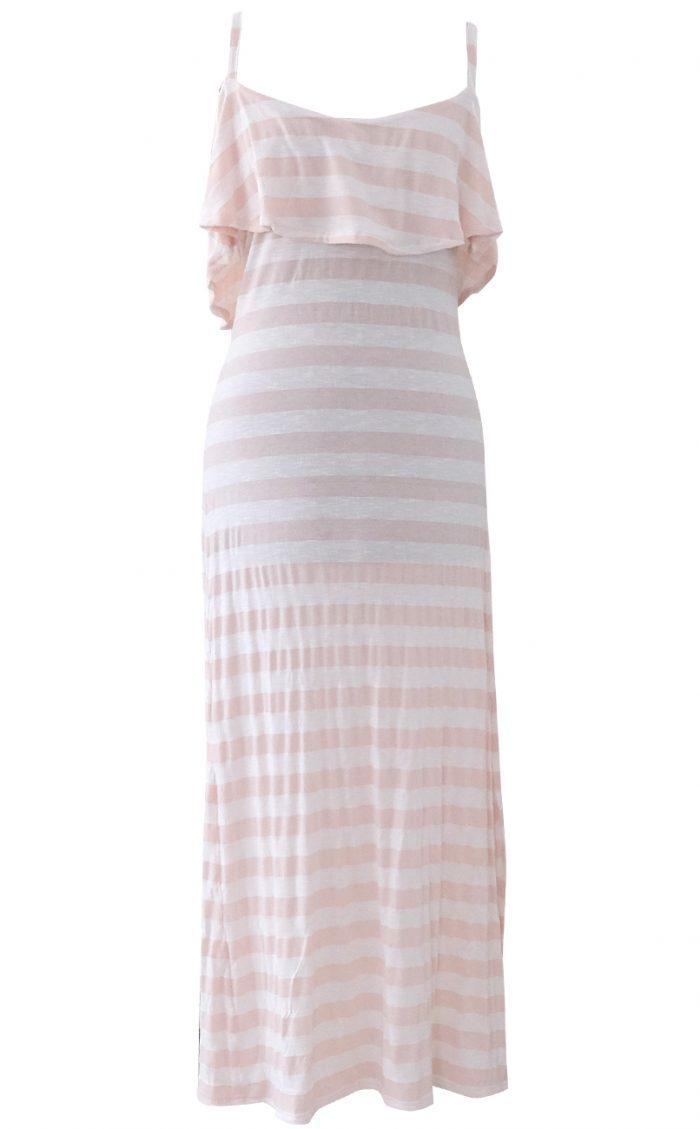 Pale Dogwood Pink Ruffled Maxi Dress