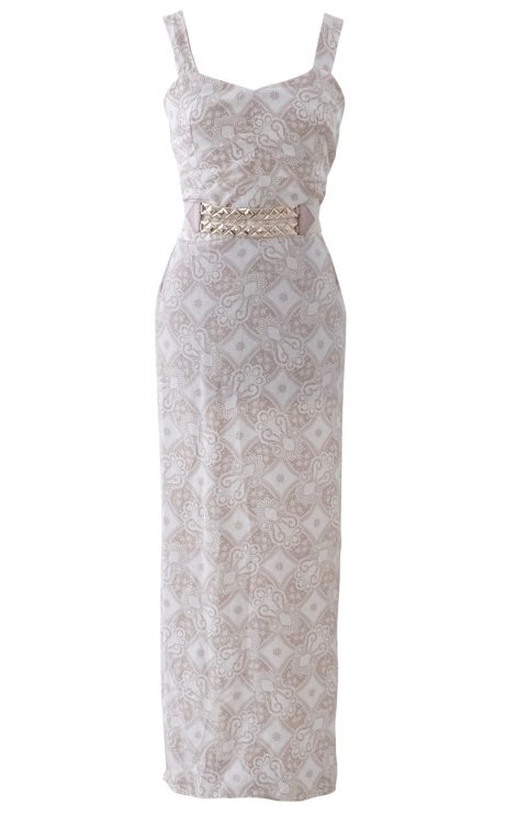 Beige and Cream Paisley Garden Maxi Dress