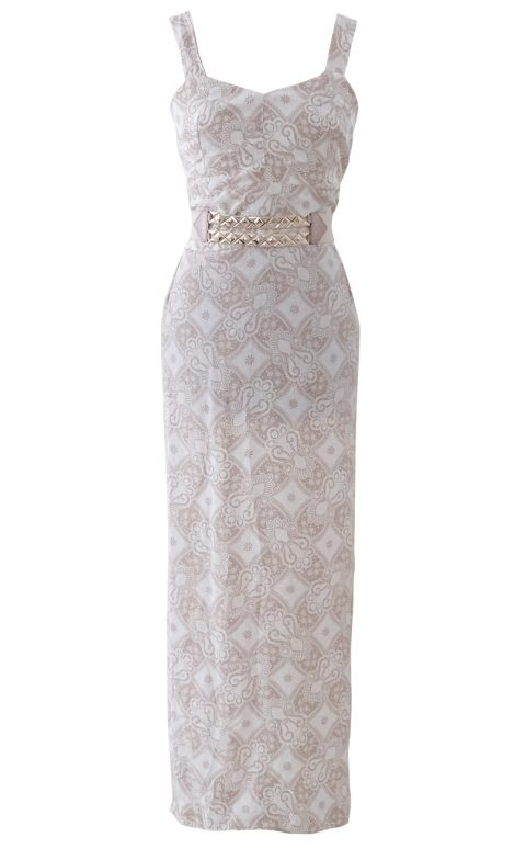 Beige and Cream Paisley Garden Maxi Dress