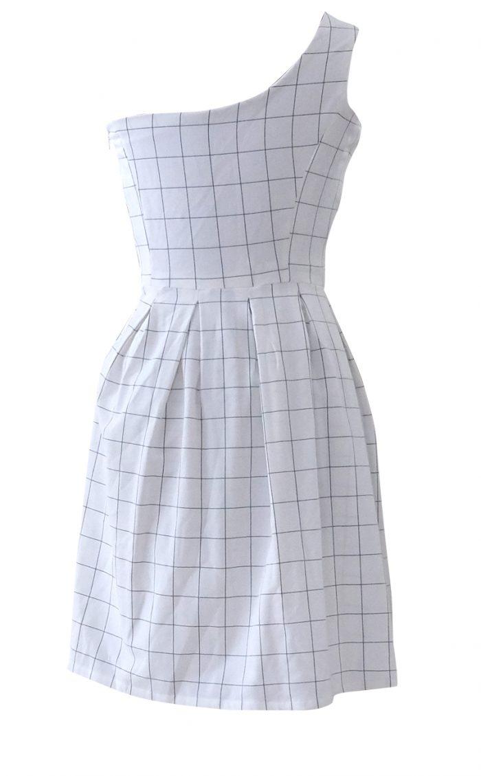 Asymmetrical Black and White Plaid Dress