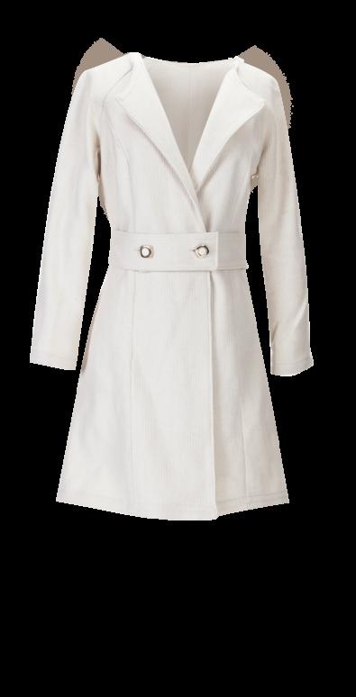 British Steele Winter White Wool Coat