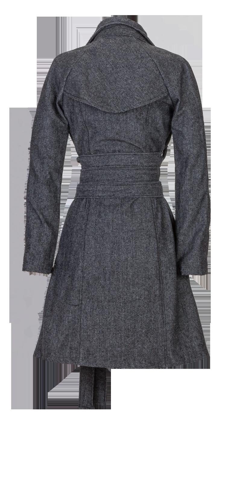 Black Herringbone Wool Long Belted Jacket