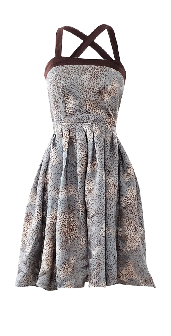 Gold and Teal Satin Leopard print dress by British Steele