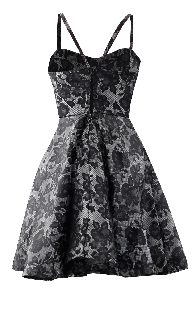 black and silver lace full circle cocktail dress british