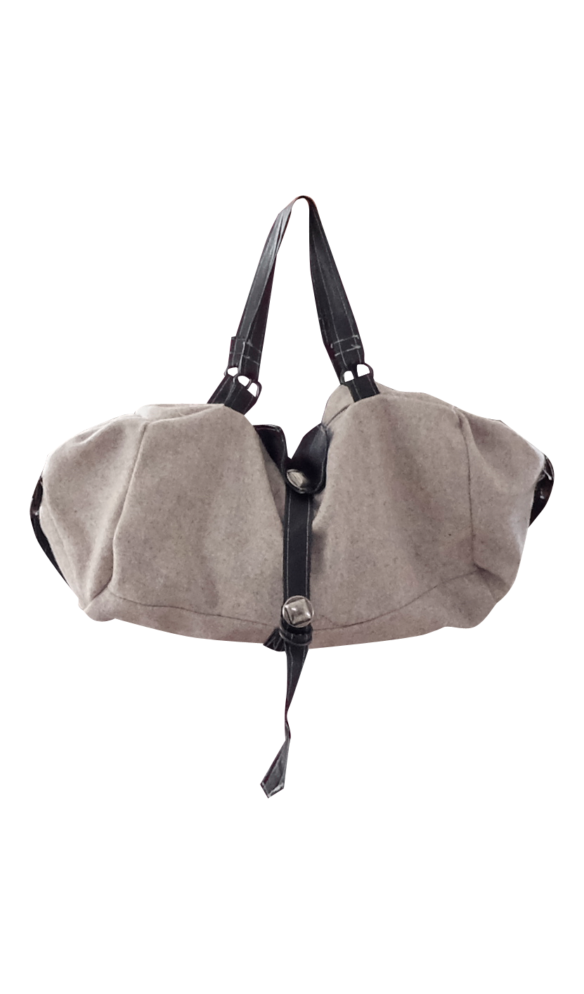 Warm Gray/ Beige Wool Hobo Bag with Leather Straps